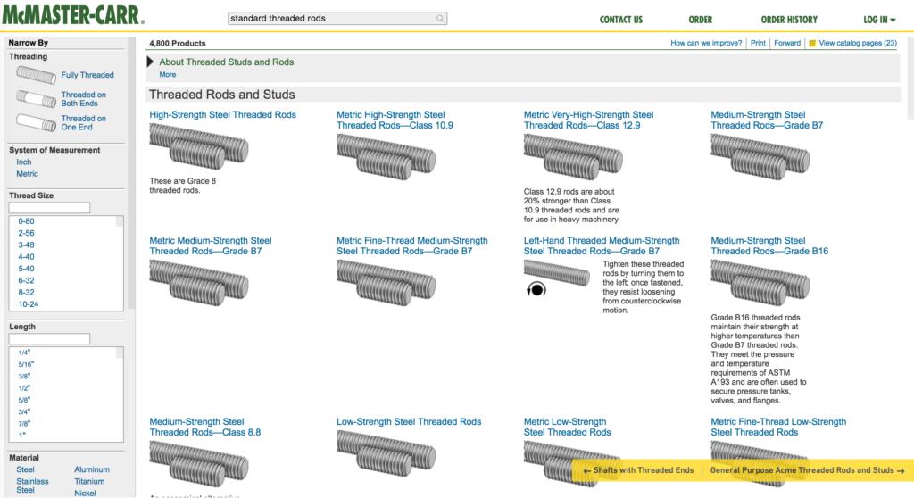 mcmaster - przykład listingu produktów gdzie zdjęcia są niepotrzebne
