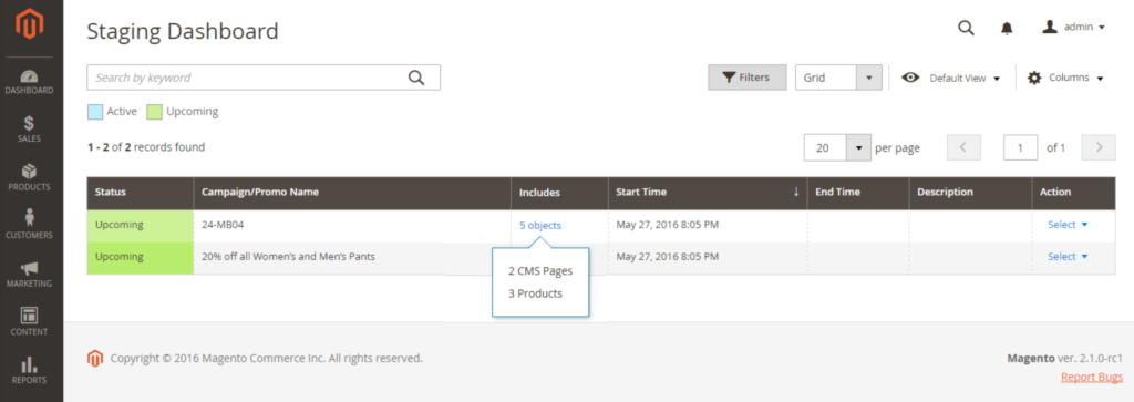 Magento 2 content staging