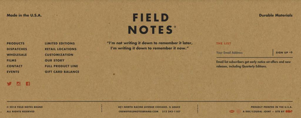 Field Notes stopka
